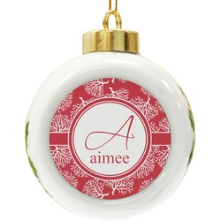 Coral Ceramic Ball Ornament (Personalized)