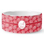 Coral Ceramic Dog Bowl (Personalized)