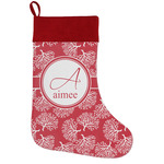 Coral Holiday Stocking w/ Name and Initial