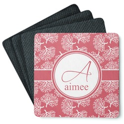 Coral 4 Square Coasters - Rubber Backed (Personalized)