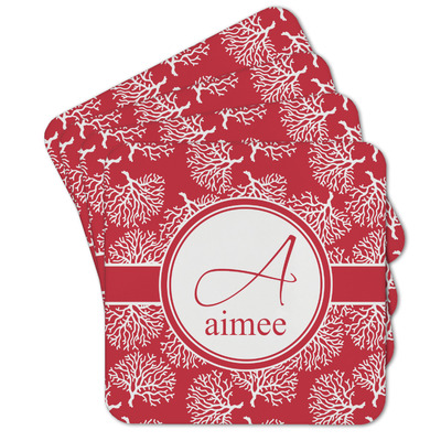 Coral Cork Coaster - Set of 4 w/ Name and Initial