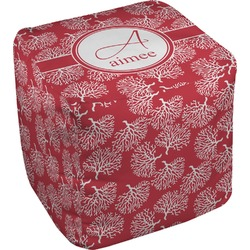 Coral Cube Pouf Ottoman (Personalized)