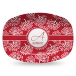 Coral Plastic Platter - Microwave & Oven Safe Composite Polymer (Personalized)