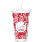 Coral Double Wall Tumbler with Straw (Personalized)
