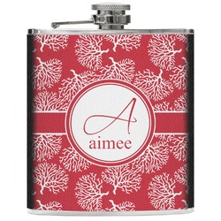 Coral Genuine Leather Flask (Personalized)
