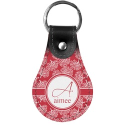 Coral Genuine Leather  Keychain (Personalized)