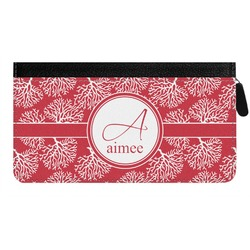 Coral Genuine Leather Ladies Zippered Wallet (Personalized)