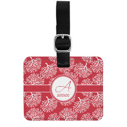 Coral Genuine Leather Rectangular  Luggage Tag (Personalized)