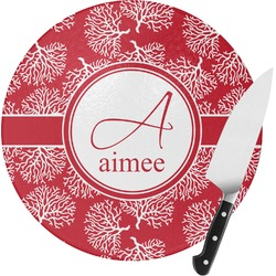 Coral Round Glass Cutting Board (Personalized)