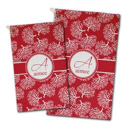 Coral Golf Towel - Full Print w/ Name and Initial