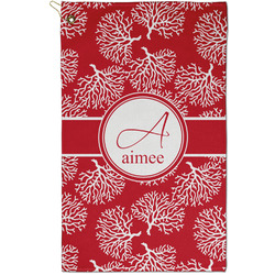 Coral Golf Towel - Full Print - Small w/ Name and Initial