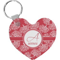 Coral Heart Keychain (Personalized)