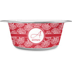 Coral Stainless Steel Dog Bowl (Personalized)