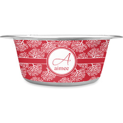 Coral Stainless Steel Pet Bowl (Personalized)