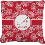 Coral Faux-Linen Throw Pillow (Personalized)