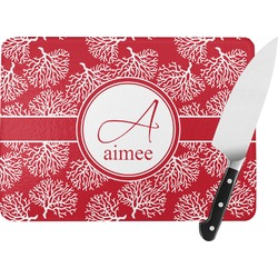 Coral Rectangular Glass Cutting Board (Personalized)