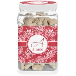 Coral Dog Treat Jar (Personalized)