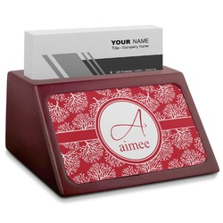Coral Red Mahogany Business Card Holder (Personalized)