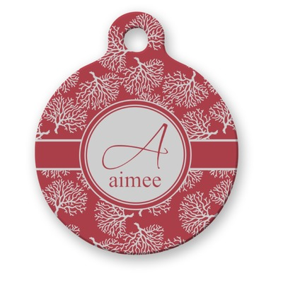 Coral Round Pet ID Tag (Personalized)