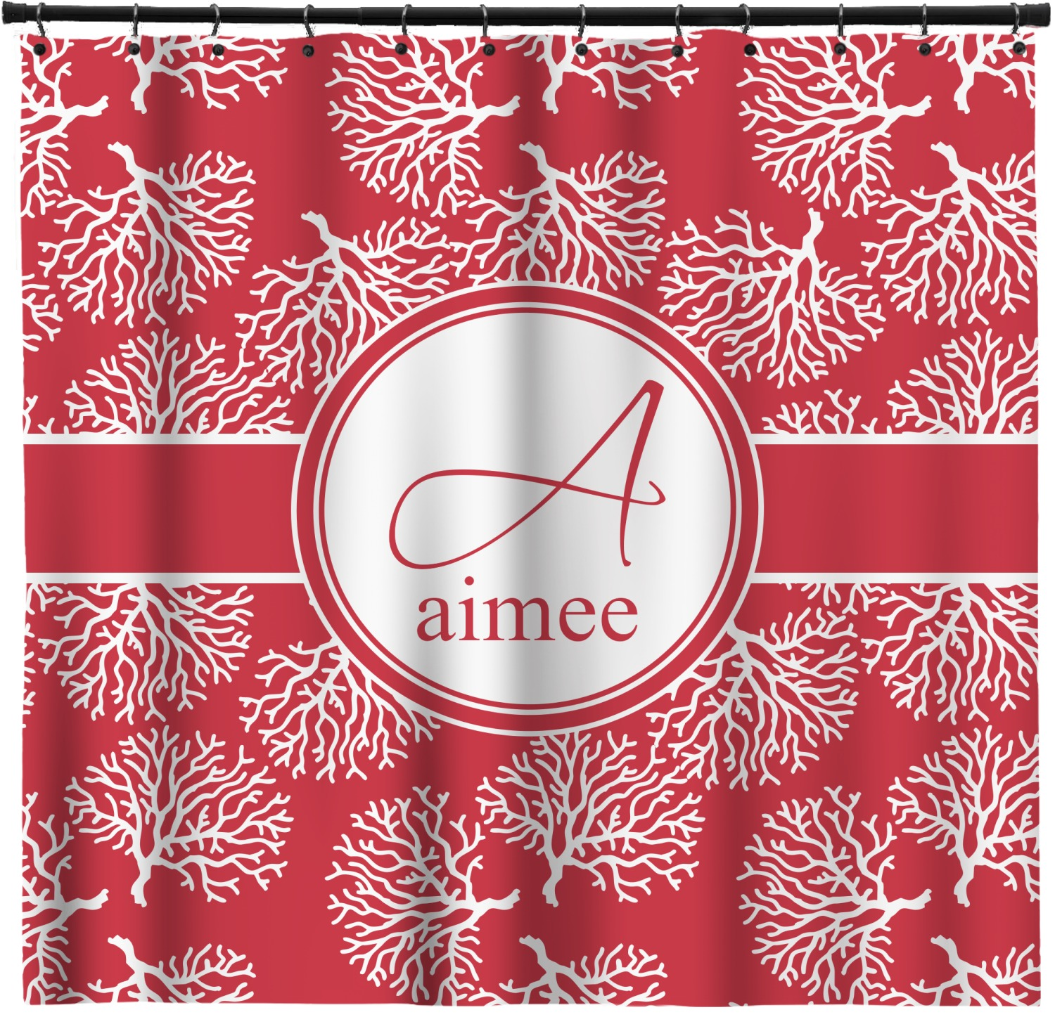 Coral Shower Curtain Custom Width Height Personalized Youcustomizeit