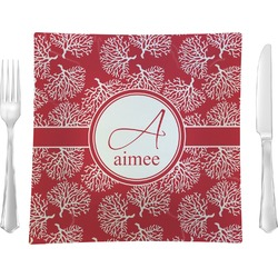 "Coral Glass Square Lunch / Dinner Plate 9.5"" - Single or Set of 4 (Personalized)"
