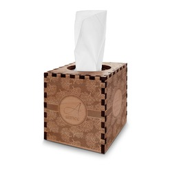 Coral Wooden Tissue Box Cover - Square (Personalized)