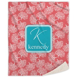 Coral & Teal Sherpa Throw Blanket (Personalized)