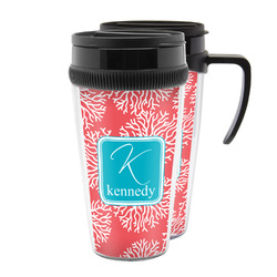 Coral & Teal Acrylic Travel Mugs (Personalized)