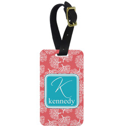 Coral & Teal Metal Luggage Tag w/ Name and Initial