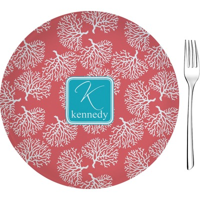 """Coral & Teal 8"""" Glass Appetizer / Dessert Plates - Single or Set (Personalized)"""