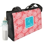 Coral & Teal Diaper Bag w/ Name and Initial