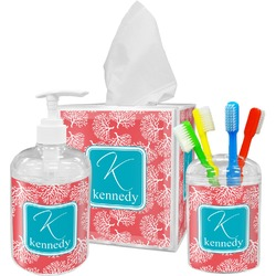 Coral & Teal Bathroom Accessories Set (Personalized)
