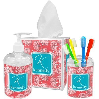 Coral teal bathroom accessories set personalized for Teal bathroom accessories sets