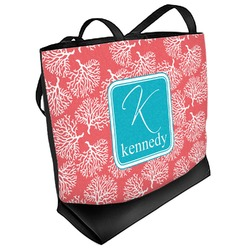 Coral & Teal Beach Tote Bag (Personalized)