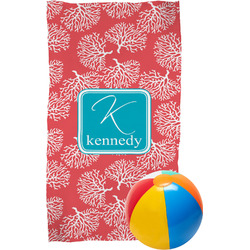 Coral & Teal Beach Towel (Personalized)
