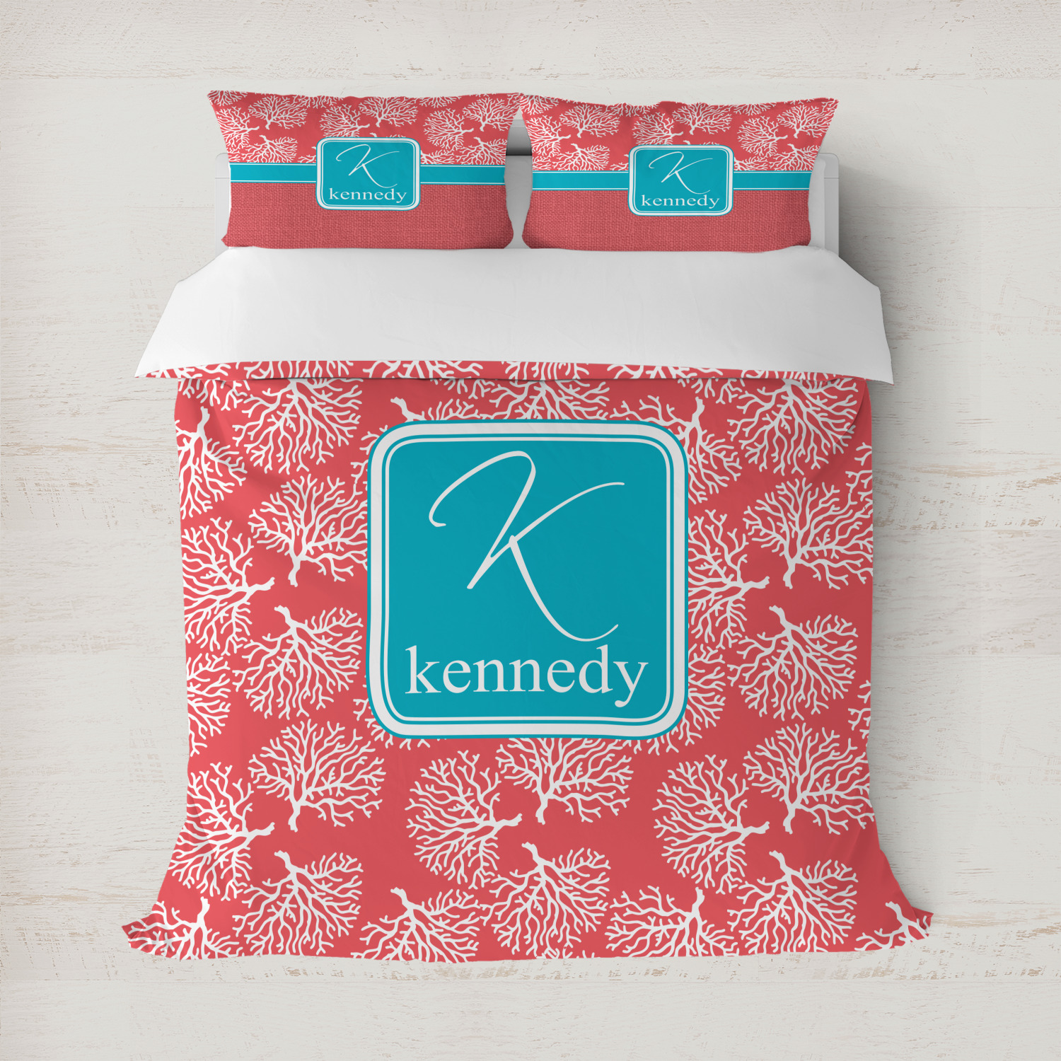 Coral Teal Duvet Covers Personalized Youcustomizeit