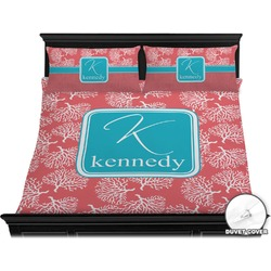 Coral & Teal Duvet Cover Set - King (Personalized)