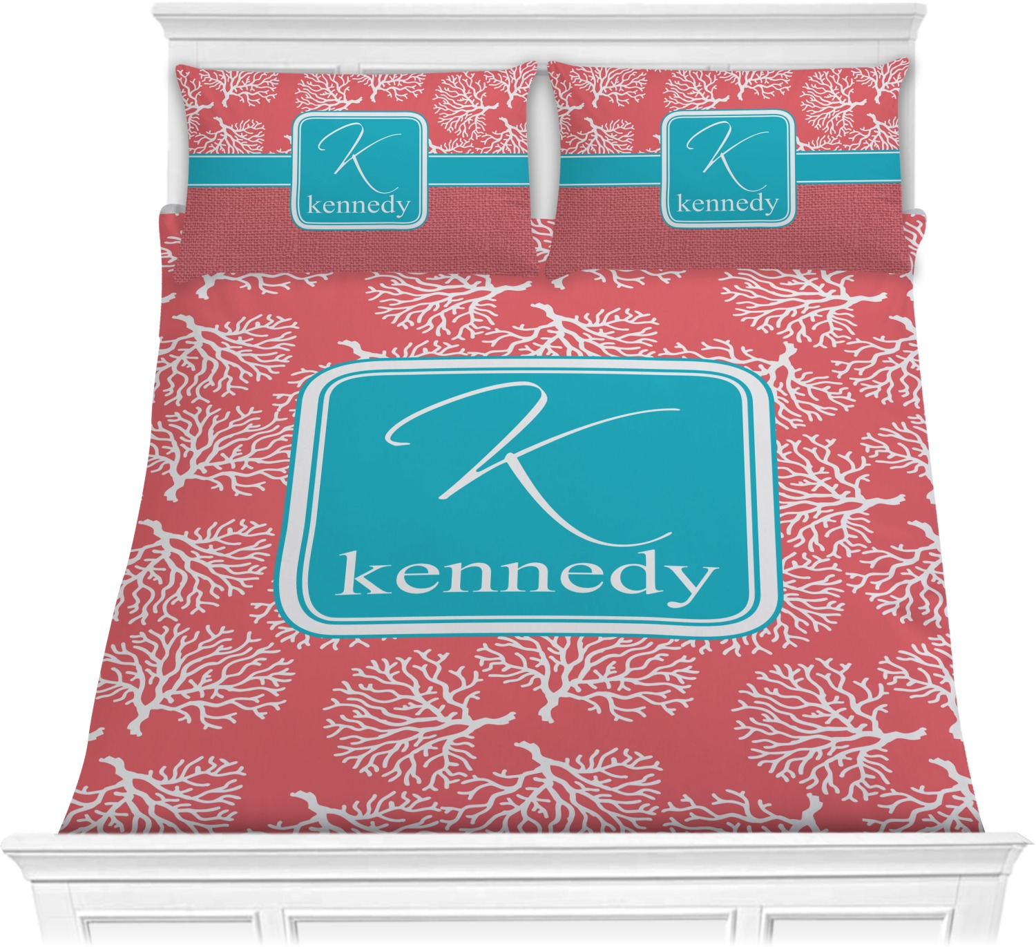 Coral Teal Comforters Personalized Youcustomizeit
