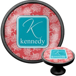 Coral & Teal Cabinet Knob (Black) (Personalized)