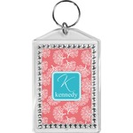 Coral & Teal Bling Keychain (Personalized)