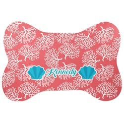 Coral & Teal Bone Shaped Dog Food Mat (Personalized)