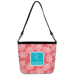 Coral & Teal Bucket Bag w/ Genuine Leather Trim (Personalized)