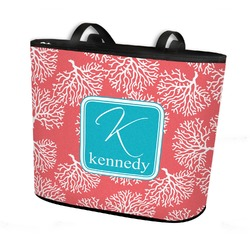 Coral & Teal Bucket Tote w/ Genuine Leather Trim (Personalized)