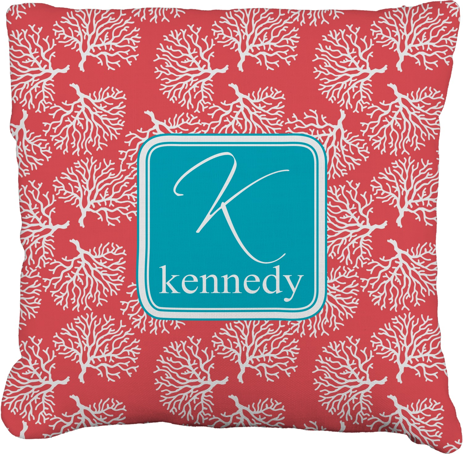 Picture of: Coral Teal Faux Linen Throw Pillow Personalized Youcustomizeit
