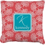 Coral & Teal Faux-Linen Throw Pillow (Personalized)