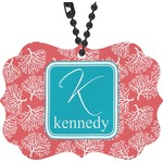 Coral & Teal Rear View Mirror Charm (Personalized)