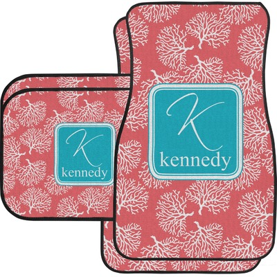 Coral & Teal Car Floor Mats Set - 2 Front & 2 Back (Personalized)
