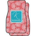 Coral & Teal Car Floor Mats (Front Seat) (Personalized)