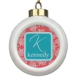 Coral & Teal Ceramic Ball Ornament (Personalized)