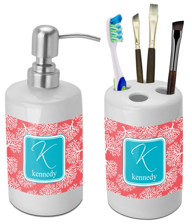 Coral teal bathroom accessories set ceramic for Teal bathroom accessories